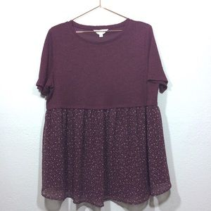 Lauren Conrad Maternity Top Polka Dots Wine Sz XL